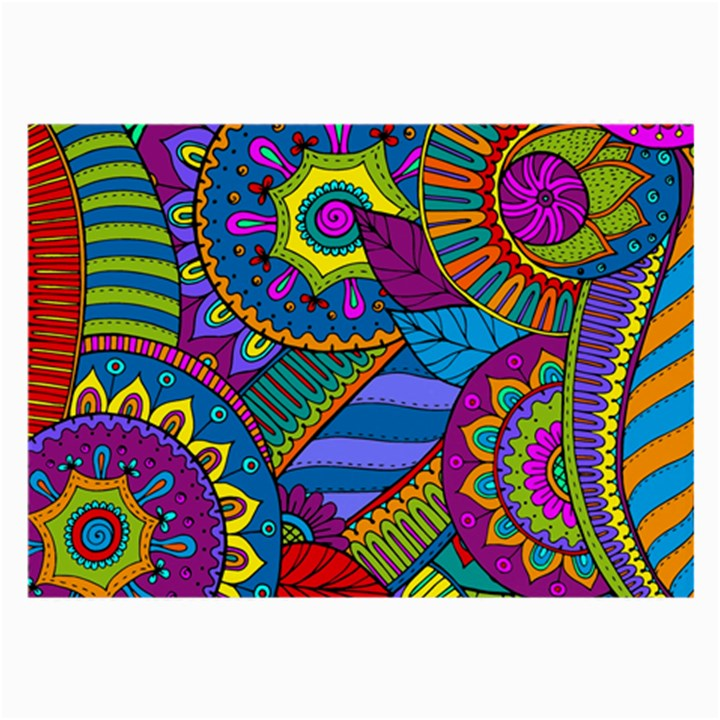 Pop Art Paisley Flowers Ornaments Multicolored Large Glasses Cloth