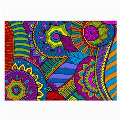 Pop Art Paisley Flowers Ornaments Multicolored Large Glasses Cloth (2-Side)