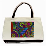 Pop Art Paisley Flowers Ornaments Multicolored Basic Tote Bag (Two Sides) Front