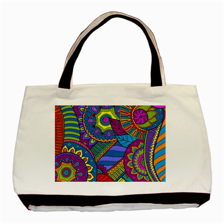 Pop Art Paisley Flowers Ornaments Multicolored Basic Tote Bag (Two Sides)