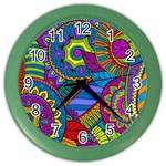 Pop Art Paisley Flowers Ornaments Multicolored Color Wall Clocks Front