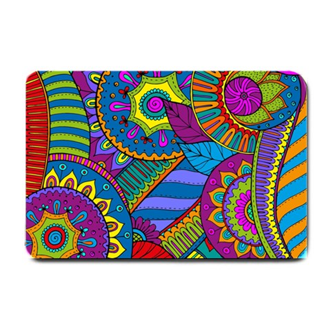 Pop Art Paisley Flowers Ornaments Multicolored Small Doormat