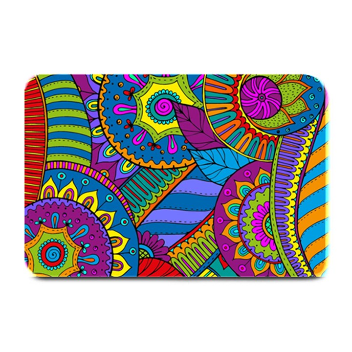Pop Art Paisley Flowers Ornaments Multicolored Plate Mats