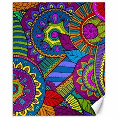 Pop Art Paisley Flowers Ornaments Multicolored Canvas 11  X 14