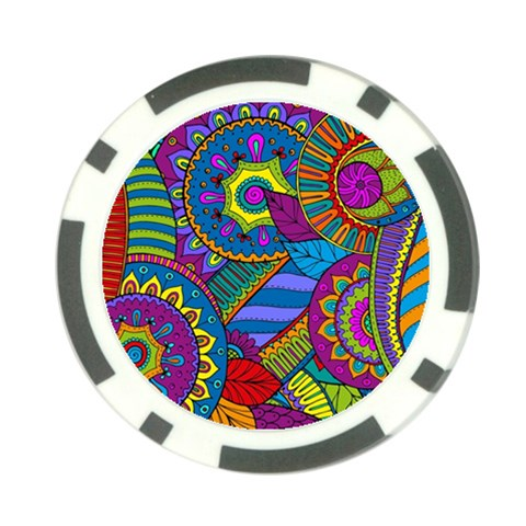 Pop Art Paisley Flowers Ornaments Multicolored Poker Chip Card Guards