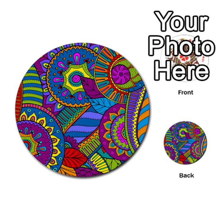 Pop Art Paisley Flowers Ornaments Multicolored Multi-purpose Cards (Round)