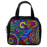 Pop Art Paisley Flowers Ornaments Multicolored Classic Handbags (One Side) Front