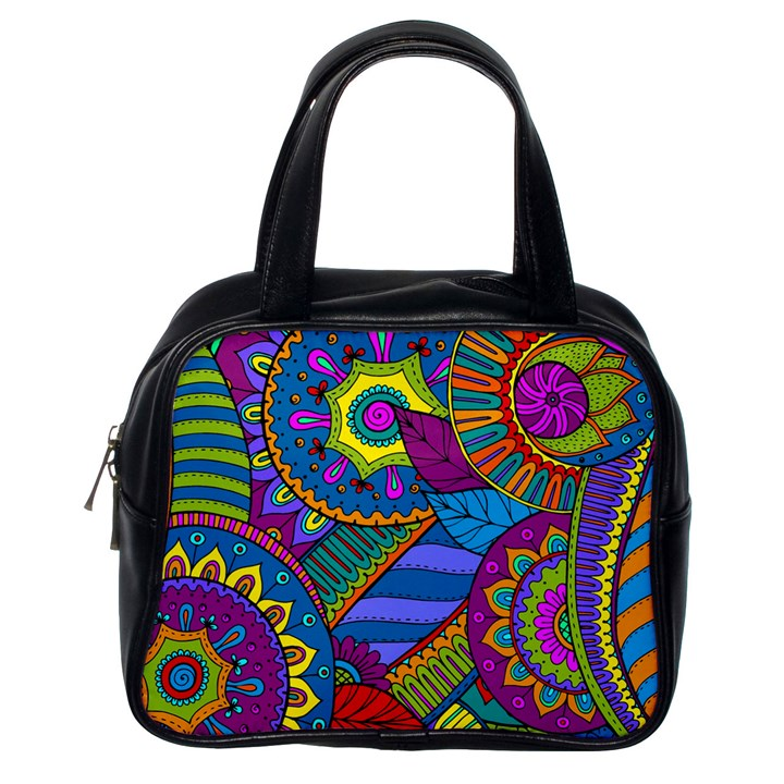 Pop Art Paisley Flowers Ornaments Multicolored Classic Handbags (One Side)
