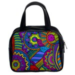 Pop Art Paisley Flowers Ornaments Multicolored Classic Handbags (2 Sides) Front