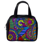 Pop Art Paisley Flowers Ornaments Multicolored Classic Handbags (2 Sides) Back