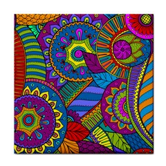 Pop Art Paisley Flowers Ornaments Multicolored Face Towel