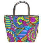 Pop Art Paisley Flowers Ornaments Multicolored Bucket Bags Front