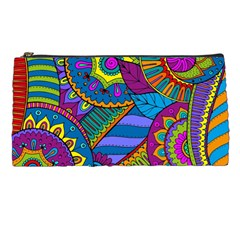 Pop Art Paisley Flowers Ornaments Multicolored Pencil Cases
