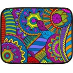 Pop Art Paisley Flowers Ornaments Multicolored Double Sided Fleece Blanket (Mini)  35 x27 Blanket Back