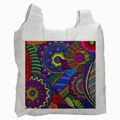 Pop Art Paisley Flowers Ornaments Multicolored Recycle Bag (one Side)