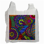 Pop Art Paisley Flowers Ornaments Multicolored Recycle Bag (Two Side)  Front
