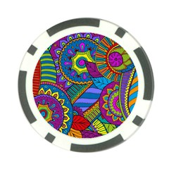 Pop Art Paisley Flowers Ornaments Multicolored Poker Chip Card Guards (10 Pack)
