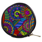 Pop Art Paisley Flowers Ornaments Multicolored Mini Makeup Bags Front