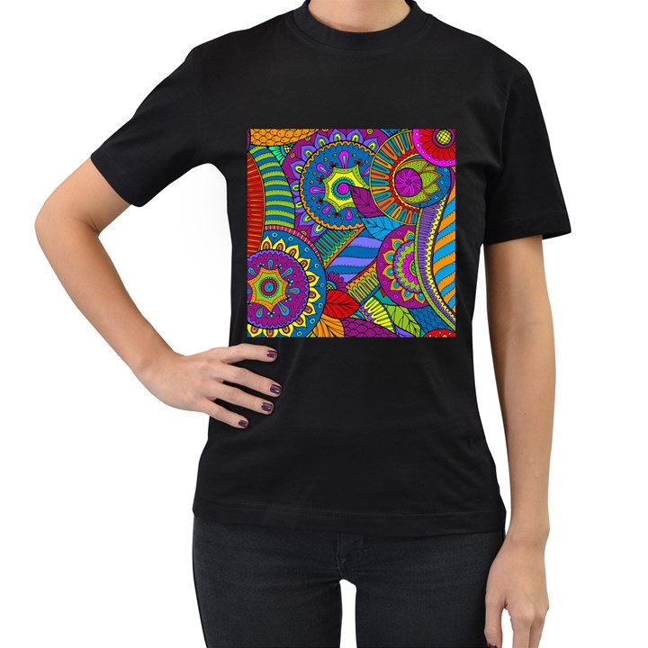 Pop Art Paisley Flowers Ornaments Multicolored Women s T-Shirt (Black)