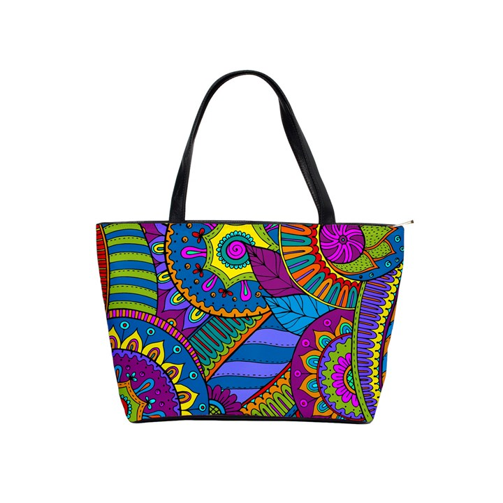 Pop Art Paisley Flowers Ornaments Multicolored Shoulder Handbags