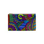 Pop Art Paisley Flowers Ornaments Multicolored Cosmetic Bag (Small)  Front