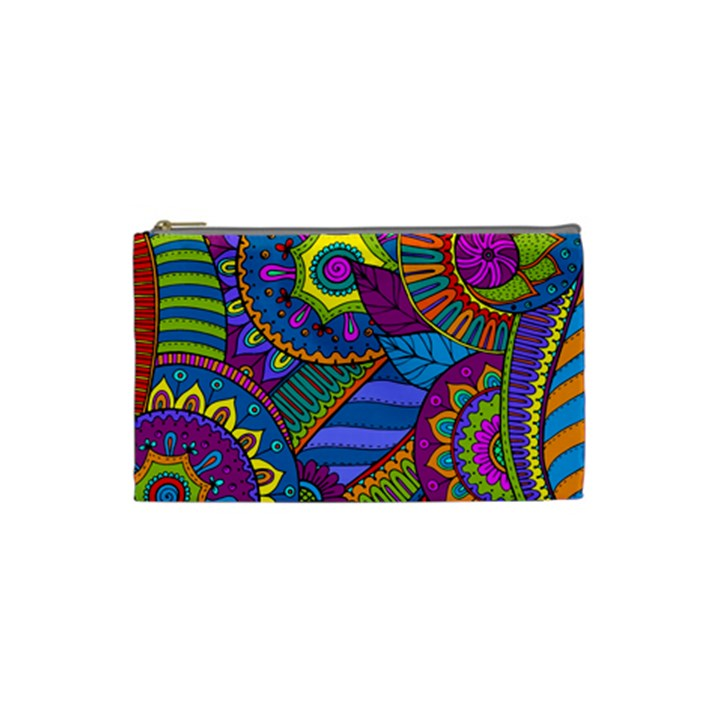 Pop Art Paisley Flowers Ornaments Multicolored Cosmetic Bag (Small)