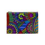 Pop Art Paisley Flowers Ornaments Multicolored Cosmetic Bag (Medium)  Front