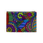 Pop Art Paisley Flowers Ornaments Multicolored Cosmetic Bag (Medium)  Back