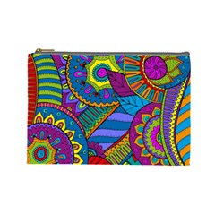 Pop Art Paisley Flowers Ornaments Multicolored Cosmetic Bag (Large)