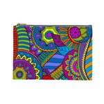 Pop Art Paisley Flowers Ornaments Multicolored Cosmetic Bag (Large)  Front