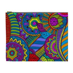 Pop Art Paisley Flowers Ornaments Multicolored Cosmetic Bag (XL)