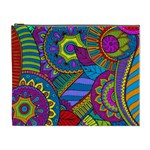 Pop Art Paisley Flowers Ornaments Multicolored Cosmetic Bag (XL) Front