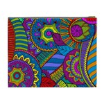 Pop Art Paisley Flowers Ornaments Multicolored Cosmetic Bag (XL) Back
