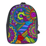 Pop Art Paisley Flowers Ornaments Multicolored School Bags(Large)  Front