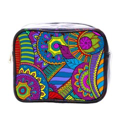 Pop Art Paisley Flowers Ornaments Multicolored Mini Toiletries Bags