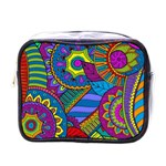 Pop Art Paisley Flowers Ornaments Multicolored Mini Toiletries Bags Front