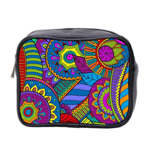 Pop Art Paisley Flowers Ornaments Multicolored Mini Toiletries Bag 2-Side