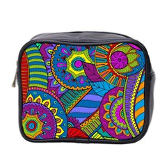 Pop Art Paisley Flowers Ornaments Multicolored Mini Toiletries Bag 2 Side
