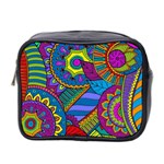 Pop Art Paisley Flowers Ornaments Multicolored Mini Toiletries Bag 2-Side Front