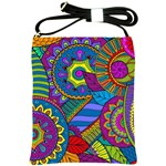 Pop Art Paisley Flowers Ornaments Multicolored Shoulder Sling Bags Front