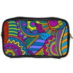 Pop Art Paisley Flowers Ornaments Multicolored Toiletries Bags Front