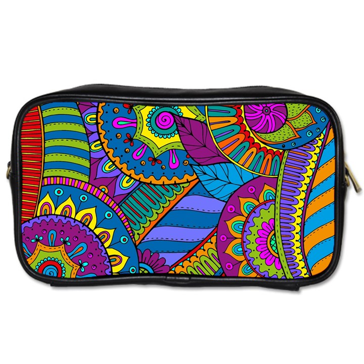 Pop Art Paisley Flowers Ornaments Multicolored Toiletries Bags 2-Side