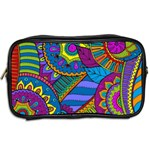 Pop Art Paisley Flowers Ornaments Multicolored Toiletries Bags 2-Side Back