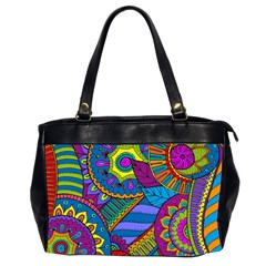 Pop Art Paisley Flowers Ornaments Multicolored Office Handbags (2 Sides)