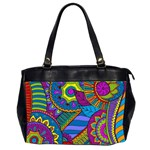 Pop Art Paisley Flowers Ornaments Multicolored Office Handbags (2 Sides)  Front