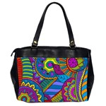 Pop Art Paisley Flowers Ornaments Multicolored Office Handbags (2 Sides)  Back