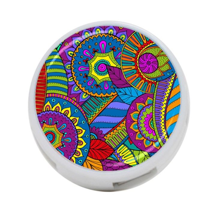 Pop Art Paisley Flowers Ornaments Multicolored 4-Port USB Hub (One Side)