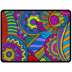 Pop Art Paisley Flowers Ornaments Multicolored Fleece Blanket (Large)