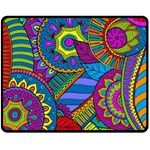 Pop Art Paisley Flowers Ornaments Multicolored Fleece Blanket (Medium)  60 x50 Blanket Front