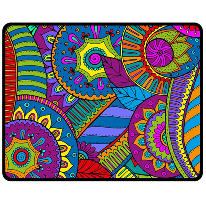 Pop Art Paisley Flowers Ornaments Multicolored Fleece Blanket (Medium)